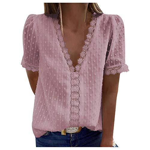 L9WEI Damen T-shirty, koronkowe majtki, krótki rękaw, letnia bluzka damska, elegancka koszula z dekoltem w kształcie litery V, krótkie rękawy, top, moda na lato