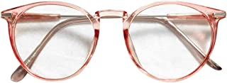 ZEVONDA Women Glasses - Vintage Transparent Metal Frame Classic Round Clear Lenses Fashion Oversize Glasses Men Women Non Prescription Eyewear