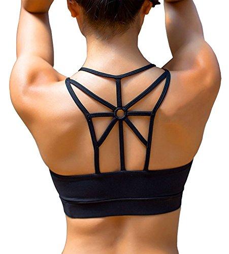 SHAPERX Damen Sports Bra Push Up Comfort Yoga Sport BH Gepolstert Herausnehmbare Pads Fitness Active Schwarz, UK-DT139-Black-L