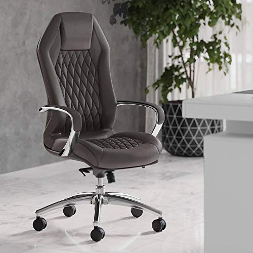 Modern Ergonomic Sterling Genuine Leather Executive Chair with Aluminum Base - Dark Grey