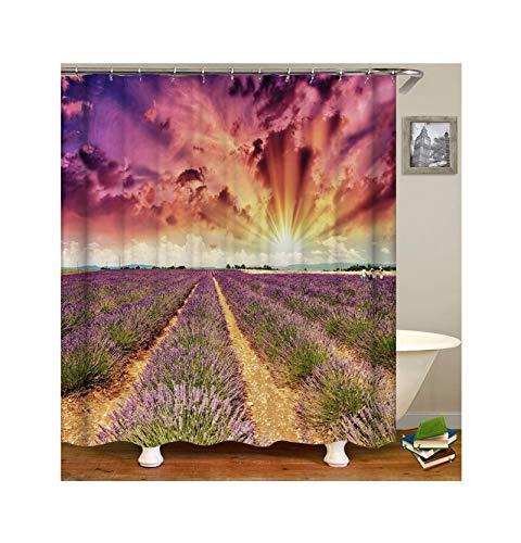 KnSam Rideau de Douche 90 x 180 cm Lavande Polyester Imperméable Rideau de Baignoire avec des Crochets