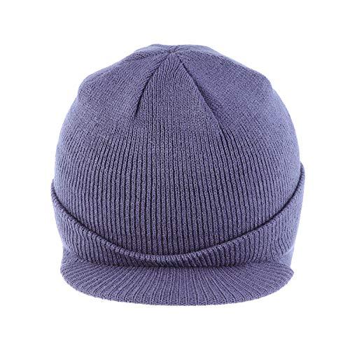 Berretto a visiera isolante caldo lavorato a maglia invernale elegante Peak Cap per uomo donna (blu grigio)