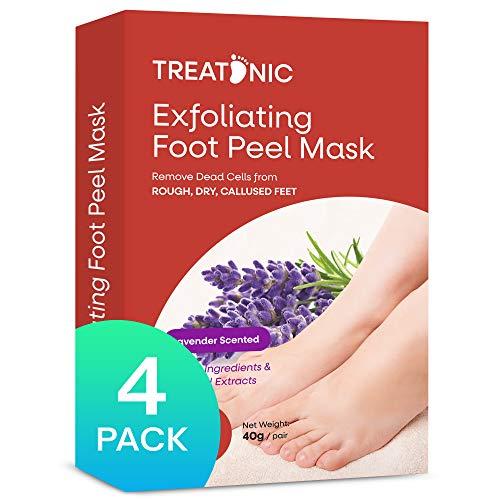 Treatonic Foot Peel Mask -4 Pairs- Exfoliating Peeling Away Calluses and Dead Skin Cells, Smooth and Soft Skin, Repair Rough Heels For Men & Women Lavender