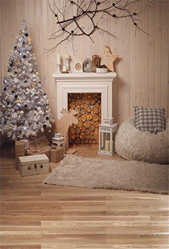 YongFoto 5x7ft Fotografie Achtergrond Kerstboom Open haard Brandhout Bank Tapijt Gifs Lantaarn Oude Boom Houten Plank Interieur Foto Achtergrond Fotografie Video Party Bruiloft Studio Props