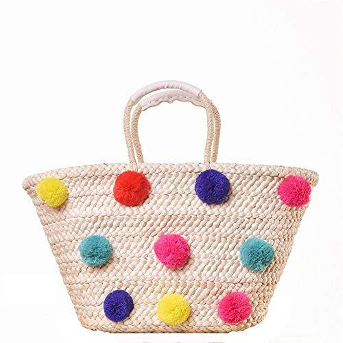 Strandtaschen für Frauen Frauen gesponnene Handtaschen-Stroh-Farben-Bommel-Sommer-Webart-Feiertags-Crossbody Strand-Reise Umhängetasche für Gym Beach Travel (Farbe : Handbag, Größe : 48 * 28cm)
