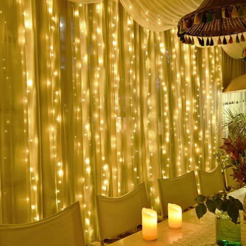 KNONEW LEDイルミネーションライト 2m×2m カーテンライト 200LED電球 マルチ フェアリーライト 多色 ストリップライト スピード変化 リモコン操作 タイマー機能 防水 屋外 室内 電飾 クリスマス/新年/結婚式/誕生日/祝日/パーティー ジュエリーライト (ウォームホワイト)