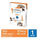 Hammermill Premium Inkjet & Laser Multipurpose Copy Paper, 24lb Copy Paper, 8.5 x 11, 1 Ream, 500 Total Sheets, Made in USA, Sustainably Sourced From American Family Tree Farms, 97 Bright, Acid Free, 166140R