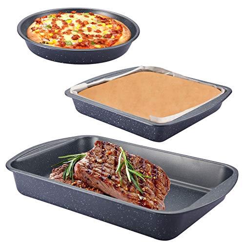 3 Stück Auflaufform set, Auflaufform groß Ofenbackform Brotbackform Kuchenform lasagne Auflaufform Kastenform Schichtkuchen - Backform runde Kuchenform ideal für Lasagne Cake, Antihaftbeschichtung