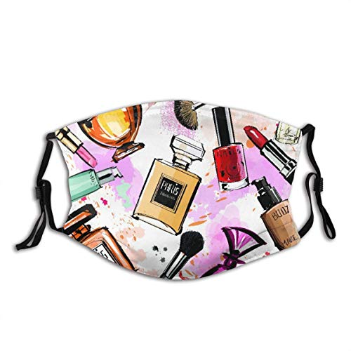 Girly Aquarell Kosmetik Parfums Lippenstift Nagellack Pinsel Sturmhaube Unisex Bandana Kopfbedeckung Gesichtsdekorationen FA-Ce Co-Ver FA-Ce Mas-Ke Mit Filtern