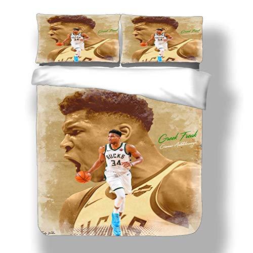 Zozun Duvet Cover Set Giannis Milwaukee Basketball Player 34 Bedding Greek Freak Antetokounmpo Bucks MIL Super Star Monster Dunk Back Court Quilt Coverlet with 2 Pillow Shams MVP Greece