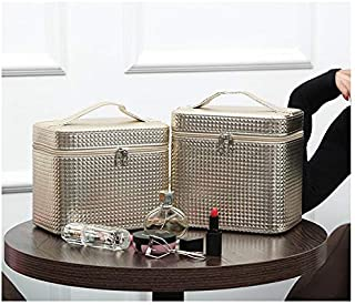 New Style High Quality Fashion Large Capacity Multi-functional Portable Simple Portable Lovely Storage Box Cosmetic Bag (Color : Gold, Size : L)