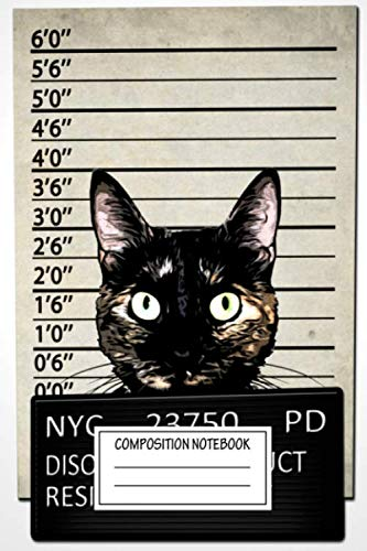 Composition Notebook: Animals Kitty Mugshot Cat Illustrations Wide Ruled Note Book, Diary, Planner, Journal for Writing