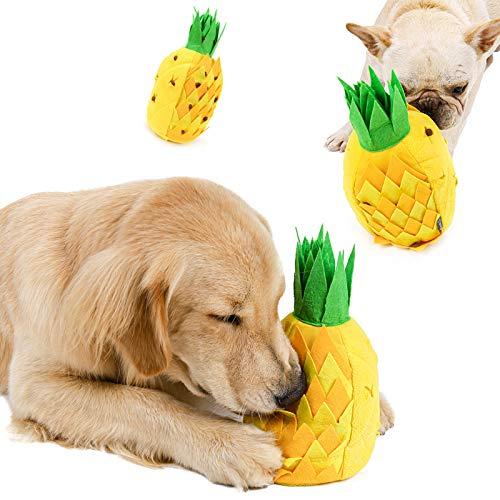 Soapow Perro Snuffling relleno chirriante juguete golosinas dispensación de alimentación lenta juguete perro nariz entrenamiento de forraje juguete