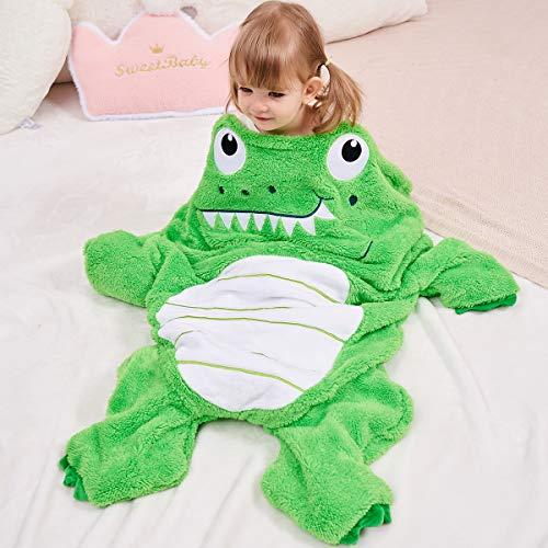 SINOGEM Alligator Blanket for Kids-Super Soft Plush Animal Sleeping Bag for Boys Girls Aged 3-10, Pocket Style Crocodile Toddler Blanket for Movie Night,Sleepover,Nap Time(Green,39.37x24.4inch)