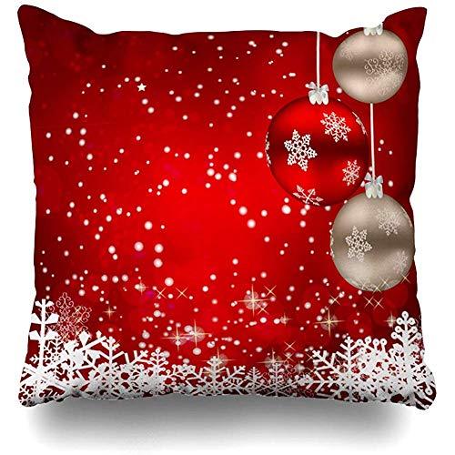 Fodera per cuscino da tiro Fiocco di neve Albero rosso Astratto Natale Anno nuovo Colore Vacanze Feste luminose e luminose Fodere per cuscini Decorazioni per la casa Dimensioni quadrate 45x45 cm (18 pollici) Federa