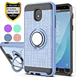 Galaxy J7 2018/J7 Aero/J7 Top/J7 Refine/J7 Eon/J7 Star/J7 Crown/J7 Aura/J6 2018 Case with HD Phone Screen Protector,Ymhxcy 360 Stand & Dual Layer Resistant Back Cover for Galaxy J737-ZH Metal Slate