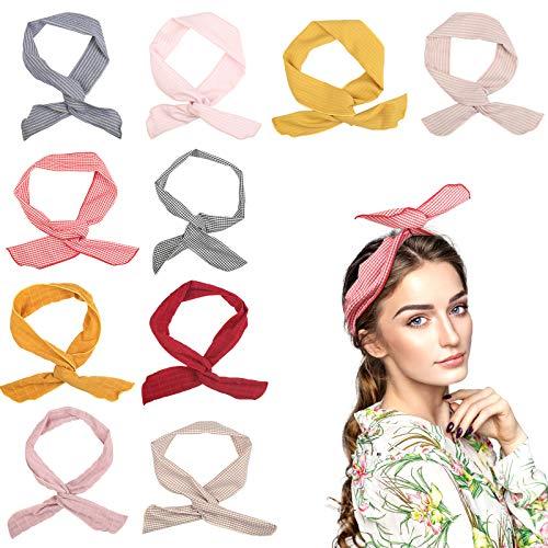 TAZEMAT 10 Stück Biegbares Haarband Draht Bunny Ohr Twist Bow Stirnbänder mit Streifen und Reine Farbe Waschbar Rockabilly Haarschmuck für Damen Mädchen Frauen Geschenk Sport Yoga Make Up
