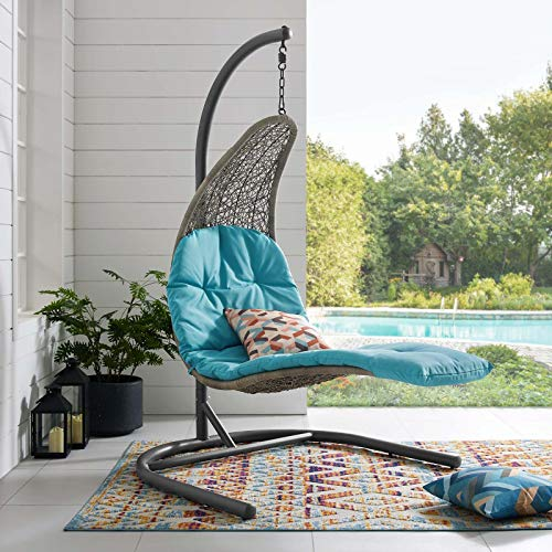 Modway Landscape Wicker Rattan Outdoor Patio Porch Chaise Lounge Hanging Swing Chair Set with Stand in Light Gray Turquoise