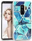 Imikoko Galaxy S9 Plus Case Blue Marble Bling Bumper Design