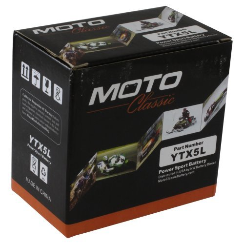 Moto Classic YTX5L 12V 6.5Ah Sealed Maintenance Free AGM 125CCA Battery