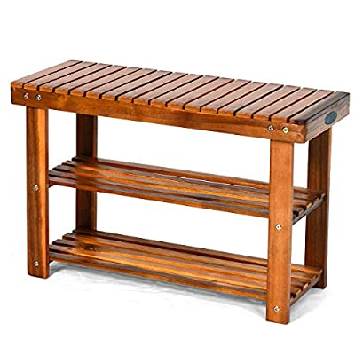 PATIOJOY Shoe Rack Bench, 3-Tier Shoe Organizer, Storage Shelf & Seat, Made of Sturdy Acacia Wood, Wide Application, Idea for Entryway, Hallway, Living Room, Bathroom, Teak Color (27.5-inch)