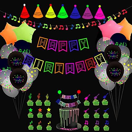 Juego de decoración para fiestas de cumpleaños de neón con banderines que brillan en la oscuridad, globos de neón, globos de aluminio, para tartas, notas musicales para colgar, sombreros