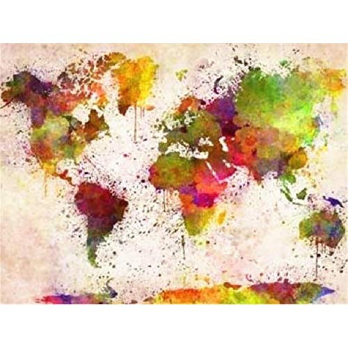 Wooden Adult Jigsaw 1000 Piece Watercolor World Map Very Challenging Adult and Teen Casual Jigsaw Puzzle, Large Size Puzzle