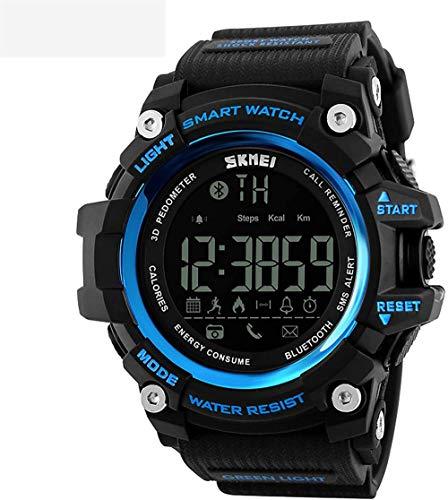 Reloj deportivo para hombre, multifunción, electrónico, podómetro, recordatorio de llamadas, conexión Bluetooth, sumergible hasta 50 m, color azul