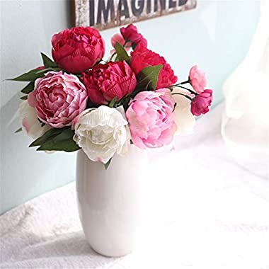 Miracliy Artificial Peony flower Silk 6 heads Flower Bouquet For Home Wedding Decoration, Rose Red