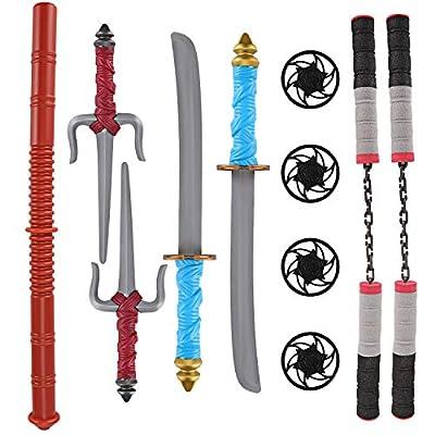 Liberty Imports Ninja Toy Weapons Kids Role Play Set with 2 Katana Swords, 2 SAIS, 2 Foam Nunchucks, 4 Shuriken and Bo Staff