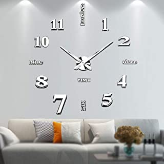 Vangold Frameless DIY Wall Clock, 2-Year Warranty 3D Mirror Wall Clock Large Mute Wall Stickers for Living Room Bedroom Home Decorations (Silver-14)
