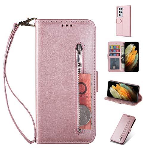 ZTOFERA Samsung S21 Ultra Hülle, Magnetisch Folio Flip Wallet Leder Standfunktion Reißverschluss schutzhülle mit Trageschlaufe, Brieftasche Hülle für Samsung Galaxy S21 Ultra - Roségold