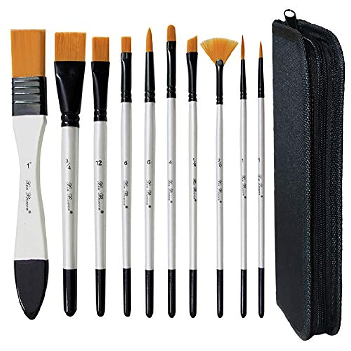 MAMUNU 10 Pcs Art Paint Brush Set with a Carrying Case for Acrylic, Oil, Watercolor and Gouache Painting, Artist Face and Body Professional Painting Kits