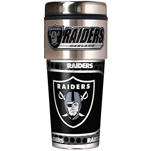 NFL Oakland Raiders Metallic Travel Tumbler, Stainless Steel and Black Vinyl, 16-Ounce