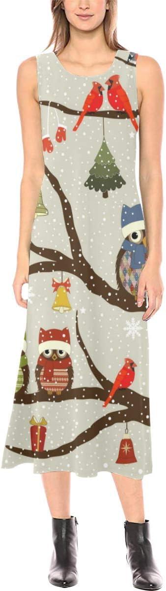 Novelty Ranking TOP10 Custom Cute In stock Owls on Tree Fork Dress Open Long Sleeveless