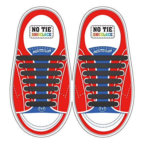 Homar No Tie Lacci per scarpe per bambini e adulti - Impermeabile in silicone elastico piatto Laces Athletic scarpa da corsa con multicolore per Scarpe Sneakerboots bordo e scarpe casual (Kid Size Black)