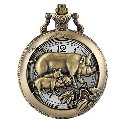 Entzückende Schweine-Taschenuhr für Herren, halbes Herz, aus Bronze-Gehäuse, langlebige dünne Kette, Taschenuhren für Frauen, praktische arabische Ziffern, Zifferblatt mit Anhänger für Jugendliche