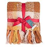 G Lake Orange Plaid Blanket Throw Acrylic Soft Reversible Dyed Fringed Bed Blanket for Christmas Decorations 50' W x 67' L-Orange