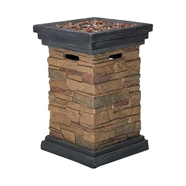 Peaktop Slate Rock Square Column Gas Propane Fire Pit with Cover