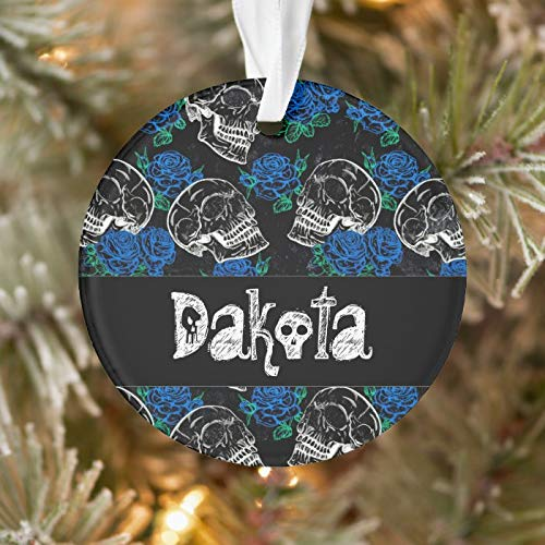 Personalized Sugar Skull Blue Rose Cool Royal Sapphire Grunge Ornament 3 Ihch Ceramic Christmas Ornament