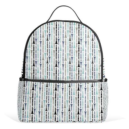 Grunge Klarinetten Schattierungen Blau Rucksack für Herren Damen Rucksack Schultertasche Daypacks Teenager Reisetasche Casual Daypack für Reisen