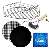 Air Fryer Rack Accessory Compatible with Costzon, Ninja, Power Airfryer Oven, Costway, Chulux, Farberware, Avalon Bay, Waterjoy, Cozyna, Keemo + More | Kebab Skewers + Cooking Times Cheat Sheet