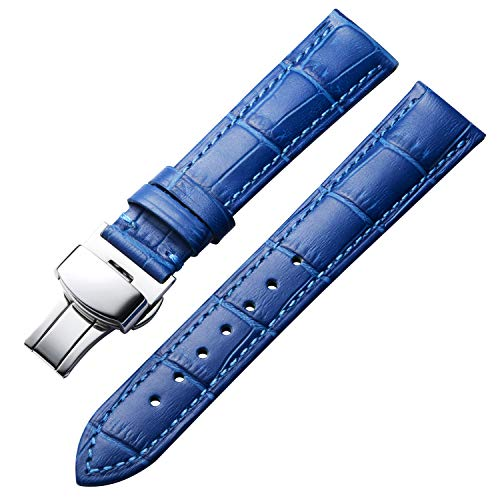 Bandas de Reloj de Cuero Genuino Correa de cocodrilo de Repuesto para Hombres Mujeres con Hebilla de despliegue de Plata Mariposa12mm 13mm 14mm 16mm 17mm 18mm 19mm 20mm 21mm 22mm 23mm 24mm Azul