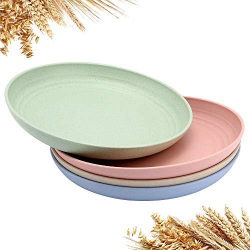 GHJK Weizenstroh Teller 4er Set 20cm Weizenstroh Abbaubar Gesunde Geschirr Teller für Kinder Kleinkinder Erwachsene Mehrere Farben