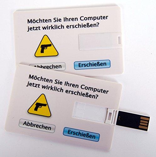 Witziger USB Stick im Visitenkartenformat, Scheckkarte, Kreditkarte, 4 GB, Möchten Sie Ihren Computer jetzt wirklich erschießen?, ideal als Datenspeicher oder Geschenk