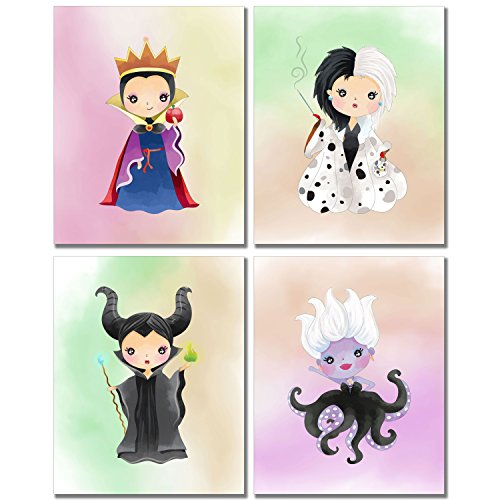 Disney Evil Queens Art Prints - Girl's Room Wall Decor Photos - Set of 4 (8 inches x 10 inches) Maleficent Ursula Cruella