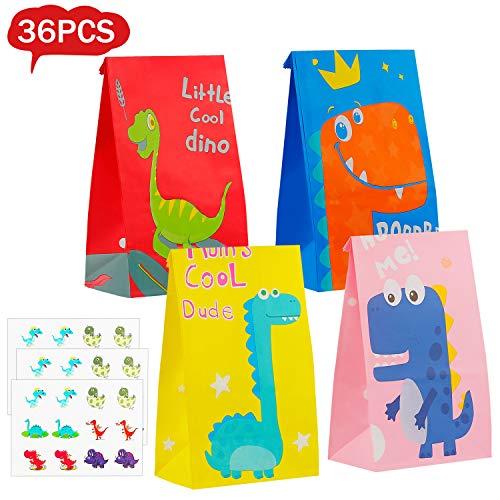 Colmanda Dinosaurier Papiertüten, 36 Stück Geschenktüten Dino, Tüten Papier Geschenk mit 36 Aufkleber, Geschenktüten zum Befüllen für Kindergeburtstag Geschenktüten