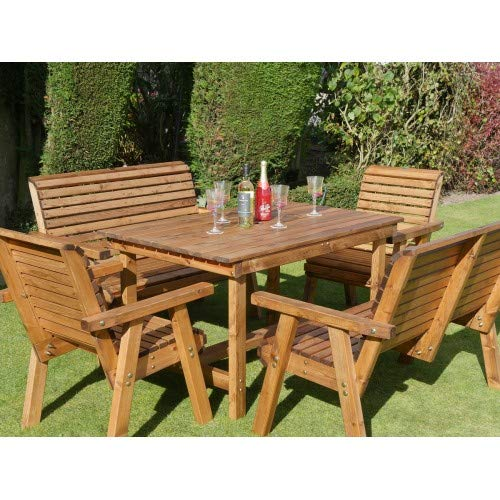 Riverco 4ft Table + 2 Chairs + 2 Benches - 6 Seater Patio Set - Premium Outdoor Garden Furniture