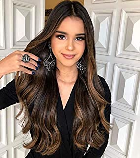 """【Save 7%】VeSunny Human Hair Clip in Extensions Balayage Color Dark Brown Fading to Medium Brown Highlights Brazilian Human Hair Clip on Hair Extensions Thick Ends 16"""" 7pcs/120g"""