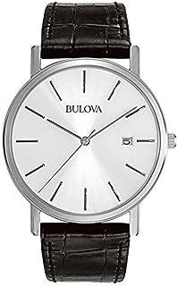 Bulova - Orologio Solo tempo 3 sfere, cassa in acciaio, cinturino in pelle nera, quadrante bianco con indici, fibbia ad ar...